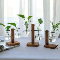 Kreative Hydroponische Glaspflanzer Birne Vase mit Retro Holzrahmen Home Office Hochzeit Bonsai Dekor Tischplatte Blumentopf Hydroponics Pflanzen Terrarium