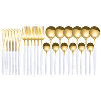 Spklifey Gold Spoon 24 PCS Dorado Cubiertos Conjuntos de acero inoxidable Juego de vajillas Vajilla Forks Forks Spoons H BBYTWN 619 R2