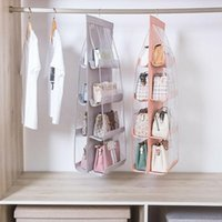 Storage Boxes & Bins 6 8 Pocket Folding Hanging Large Clear Handbag Purse Holder Anti-dust Organizer Rack Hook Hanger