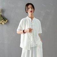Blusas das mulheres Camiseta 2021 desgaste do verão Estilo nacional Vintage Camisa Top Casaco Manhã Exercício Taiji Terno