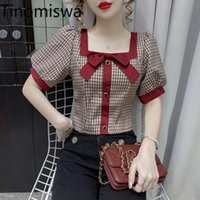 Women's Blouses & Shirts Tinomiswa Plaid Blouse Blusas Mujer Square Collar Short Sleeve Office Ladies Casual Vintage Tops Chemises