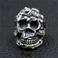 Cluster Rings Real 925 Sterling Silver Naked Skull For Men Retro Antique Motorcycle Biker Punk Skeleton