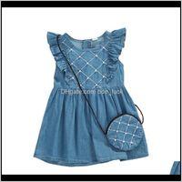 Baby, Kids & Maternity6M-3Y Toddler Born Infant Dress Summer Ruffles Blue Denim Pearls Dresses For Girls + Handbag Baby Girl Clothing Drop De