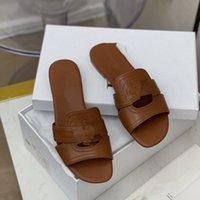 Nuova donna Slipper Designer Slipper Qualità Superiore Qualità Genuina Pelle Moda Casual Slipper Slippy Flip flops Size 34-43 con scatola QC1207