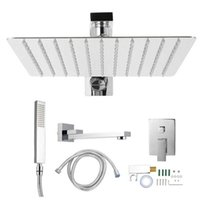 G1 2in Thread Wall Mount Concealed Bathroom Shower Faucet System Set Top Sprayer Hand Head Kit Sets