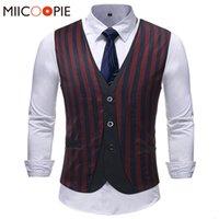 Men's Vests Men Suit Vest Classic Striped Fake Two Piece Dress Slim Fit Wedding Waistcoat Mens Formal Sleeveless Gilet Homme 5 QZO2
