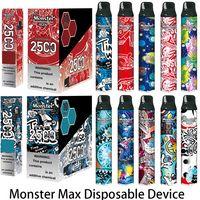 Monster ORIGINAL MONSTER MASTA MAX KIT DE DISPOSITIF DE CIGARETTES EFSABLES 2500 PIÈCES PROMÉFÉRES POD DE VAPE PEN AUTHENTIQUE VS BAR PLUS DUAL