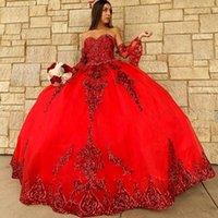 2021 Seksi Gül Altın Kırmızı Kraliyet Mavi Payetli Dantel Quinceanera Elbiseler Balo Kristal Boncuk Sequins Sevgiliye Kollu Ruffles Parti Elbise Balo Abiye giyim