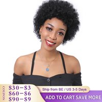 Short Bob Human Hair Wigs For Black Women Brazilian Kinky Curly Wigs Natural Color Non-Remy Short Wig Machine Made Pi xie cut S0826