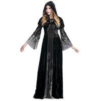 Vestidos casuales disfraces de Halloween con capucha Cloak Criss-Cross Criss Culp Bell Dress Scary Nun Cosplay Carnival Demonic Vestido Medieval