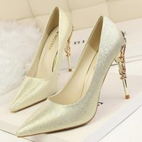 Gold argent talons hauts chaussures en bas en cuir véritable en cuir mariage sexy fête de promane rouge