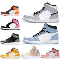2021 Jumpman 1 1S Bottes Chaussures pour hommes Femmes Université Pherspective Blue Milan Milan Moka Lumière Smoke Grey Gris Baskets Sports en plein air