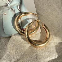 Hoop & Huggie Exaggerate Big Geometric Earring For Women 2021 Gold Color Circle Punk Earrings Fashion Round Brincos Jewelry Gifts