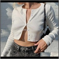 Knits Tops & Tees Womens Clothing Apparel Drop Delivery 2021 Meihuida Summer Autumn Women Korean Fashion Sexy Long Sleeve Open Front Button U