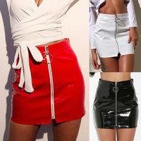 Skirts Sexy Bodysuit Womens High Waist Leather Zipper Bag Hips Ultrashort Skirt Slim Solid Half Mini Dress Locomotive Streetwear Female