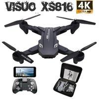 Visuo XS816 RC Drone ile 50 kez Zoom Wifi FPV 4 K Çift Kamera Optik Akış Quadcopter Katlanabilir Selfie Dron vs SG106 M70 Taşınabilir Oyun Oyna
