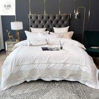 مجموعات الفراش ضوء أبيض فاخر أنيقة التطريز 60 ثانية الحرير الحرير القطن مجموعة مزدوجة حاف الغطاء السرير بياضات سادات المنسوجات المنزلية
