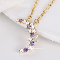 Pendant Necklaces Fashion Gem Charm Zircon Crystal Moon For Women Necklace Female Clavicle Chain Plating Gold Jewelry Gifts