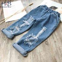 Юмор медведь мода детей разорванные джинсы дети мальчики девочек джинсовые штаны для одежды малышей 210430
