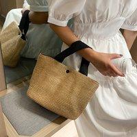 designer woven bags women black white Seaside summer beach vacation fashion retro handbag straw wovening bag female