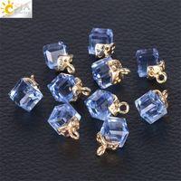 CSJA 10 STKS Sieraden Bevindingen Facet Cube Glass Losse Kralen 13 Kleur Vierkante Vorm 2mm Gat Oostenrijkse Crystal Bead voor Armband DIY 1023 Q2