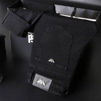High-End-Männer Jeans Slim Elastic Italy Eagle Marke Fashion Business Hose Klassische Stil Baumwolle Black Denim Hosen