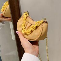 Evening Bags Pleated Tote Bag 2021 Fashion High-quality PU Leather Women's Designer Handbag Chain Shoulder Messenger Purses