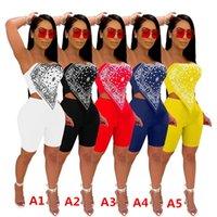여성 Tracksuits 디자이너 옷 두 조각 복장 나이트 클럽 섹시한 인쇄 된 복장 접힌 수 놓은 탑스 반바지 DHL
