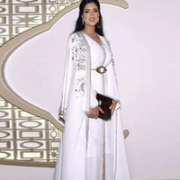 White Muslim Evening Dresses Women Formal Party Night Long Sleeves A-Line With Wrap 2021 Saudi Arabia Dubai Pageant Prom Dress