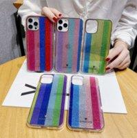 Korean style rainbow aurora glitter phone cases for iphone13 pro max 12 min 11 X XR XS 7 8 plus SE case cover