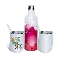 Sublimatie Blanco Wine Gift Set Rvs Vacuüm Geïsoleerde Wijnfles 500ml Twee wijn Tumblers met deksels 12oz met Gife Box