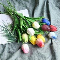 5 قطع tulip الاصطناعي زهرة الأبيض بو ريال لمسة للمنزل الديكور وهمية الزنبقين اللاتكس الزهور باقة الزفاف حديقة ديكور الزخرفية