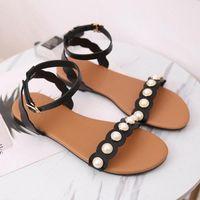 Садья 2020 сандалии женщин жемчуг пряжки квартиры обувь большие размеры женские туфли женские римские пляжные песчалиас Муджеру леди вскользь H8YV #