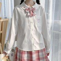 Deeptown Kawaii Camicie Donne Carino Anime Bottone Up Top Ricamato Camicia manica lunga 2021 Moda Casual Girl Girl Girl Bluses Donne Camicette da donna