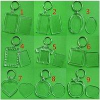 Newdiy 아크릴 빈 사진 키 체인 모양의 클리어 키 체인 삽입 사진 플라스틱 Keyrings 사진 프레임 CCA6834