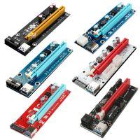 Últimas PCI-e Riser Express Cabo 16X a 1x (6pin / Molex / SATA) com Extensão de Graphics LED Etherum ETH Adaptador Powered Cartão + 60cm US