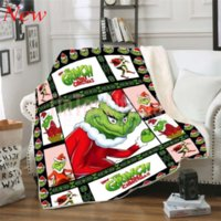DHL Grinch How the Stole Christmas Sherpa 3d Printed Wearable Adults kids Fleece Blanket