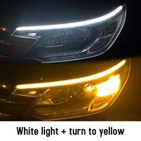 2 stks LED DRL Auto Dag Dagrijverlichting Flexibele Waterdichte Strip Auto Koplampen Witte Draai Signaal Gele Remstroomlichten 12V