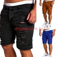 Wholesale- Black Ripped Biker Denim Summer Casual Slim Fit Water Washed Cotton Straight Men Short Jeans