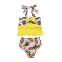 Baby Girl's Swimsuit Set Print Sleeveless Fringed Halter Tops And Shorts Two-Piece Suit For Swimming Beach Vacation Bikini One-Pieces