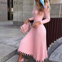 Gelecek Zaman Kadınlar Örme Uzun Elbise Sonbahar Kış İnce Kollu Bayanlar Elbiseler Zarif Parti Kadın Kazak Elbise 8 Renkler F792