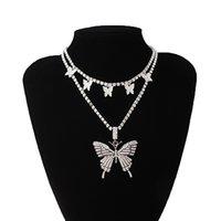 Collier de papillon en couches Chaîne Set Strass de luxe Couetter Femmes Bijoux Pendentif Déclaration Mode Bijoux en vrac en gros 1615 Q2