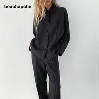 Beachapche старинные черные брюки женщины повседневная высокая талия широкие брюки ноги Джерси плиссированные классические дамы ZIP весна 2021 женские трексуиты