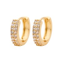 Diamond stud earrings colorful copper micro zircon double-layer earring cross-border Crystal earring for lady gold silver plated women jewelry New styles Alloy