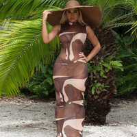 Maillots de bain pour femmes ILGLKSND Sexy Femmes Bikini Cover Ups Print Patchwork Sheer Mesh Mahcon Robe Maxi 2021 Summer Swim Beachwear Tenues