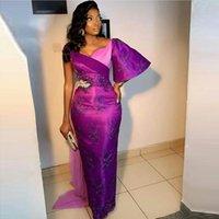 2022 New Purple Evening Dresses Beaded Crystal Applique Robe de mariée Floral Women Formal Prom Dress