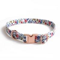 Colliers de chien d'alimentation pour animaux de compagnie avec nœud papillon en coton floral simple pour petits chiens EEB6014