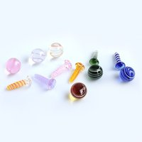 Smoking Dichro Glass Terp Screw Set Colored Solid Marbles For Slurpers Quartz Banger Nails Water Bongs Dab Oil Rigs