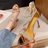 Sandals Women Summer Fashion Women's 2021 Shoes Rhinestone Gladiator Wedding Open Toe High Heels