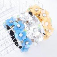 2021 Fashion Tessuto Intagliato Rhinestone Acrilico Acrilico Paillettes Flower Flower Flowers Semplice Cute Ladies Hair Band Accessori per capelli
